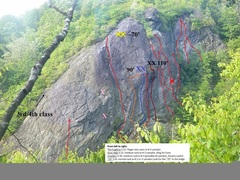 Rock Climbing Photo: Most old routes in red. Newest ones with inset des...