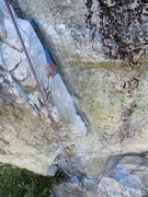 Rock Climbing Photo: The cool flake feature.