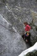 "Rock Climbing Photo: Kimberly Glinka starting ""Lonely Dancer""..."