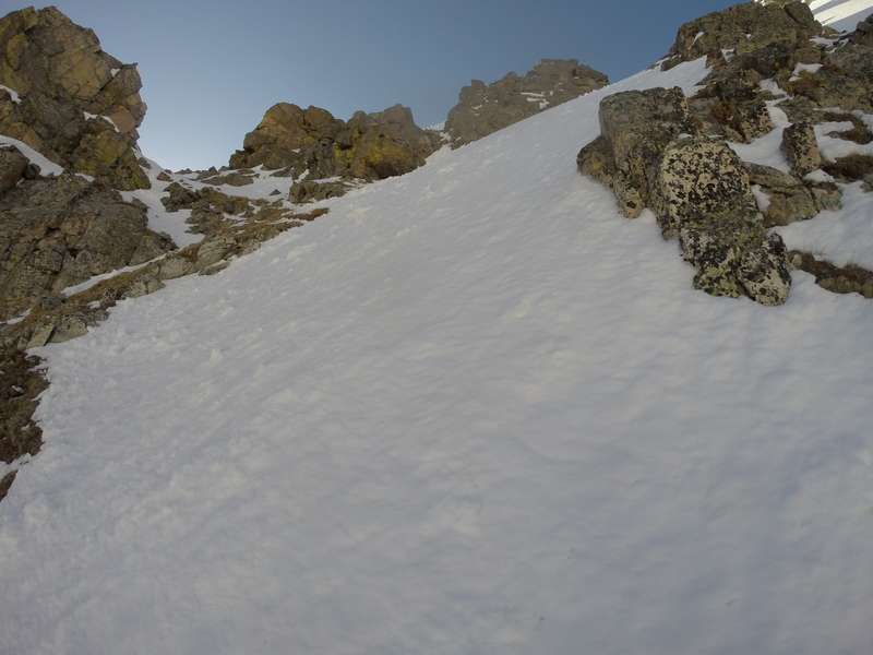 Straightforward snow climbing from here after the third crux.