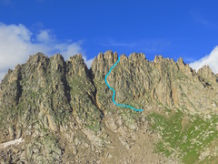 Rock Climbing Photo: The easiest route up Jagged Mountain, through the ...