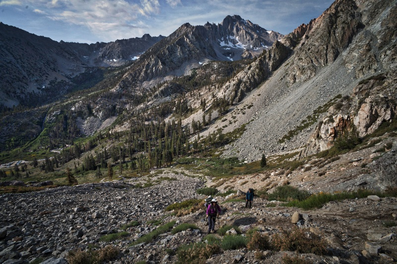 Sara Susca and Scott Nomi on the steep opening section of the Golden Trout Lake Trail.