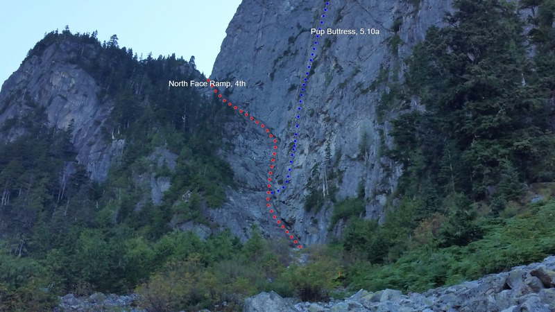 Climbing routes on Mount Harvey.