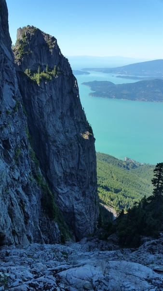 Looking down from near the top of the North Face Ramp to Harvey's Pup and Howe Sound.