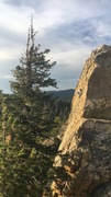 View of Rapunzel's Hair 5.7+ from a nearby scramble. Great scenery.  <br />Climber: Jameson Drum, age 9