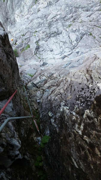 Rock Climbing Photo: Looking down from the top of pitch 4