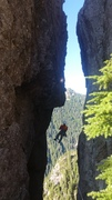 Rock Climbing Photo: Rappelling into the notch between Harvey's Pup and...