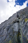 Rock Climbing Photo: Leading the FA of Slayer, pitch 2.