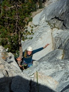 Rock Climbing Photo: Eva arriving at the top of p2, Northwest Books