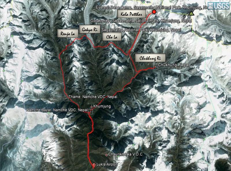 Map of our trek in the Khumbu region