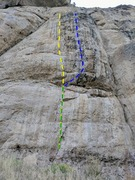 Rock Climbing Photo: Shake n Bake in yellow and Shaker in blue, with th...