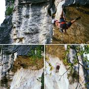Rock Climbing Photo: Lee Terveen enjoys the big moves of Carl Hungus. P...