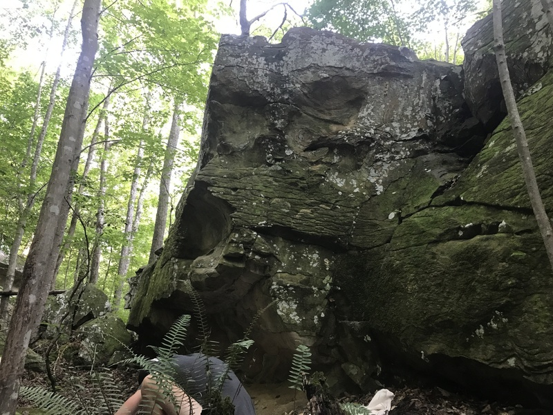 V0 Problem on the backside of a Sandstone boulder.