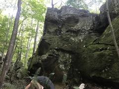 V0 Problem on the backside of a Sandstone boulder.