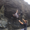 Tony Wallace sticking the move past the crux