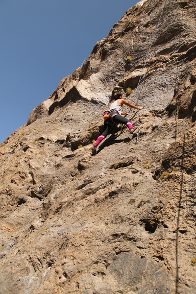 Valerie finishing up the slab reading to tackle on the headwall.