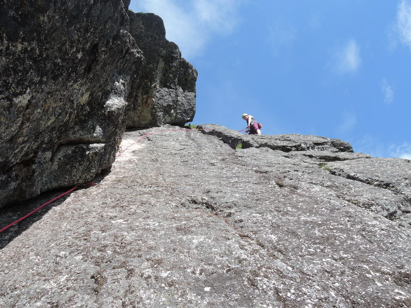 Getting ready to clean after Kiersten's lead. <br> <br> Note: there's now a 2 bolt anchor above the ledge she's belaying from.