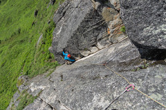 Rock Climbing Photo: Jalen works his way through the first crux of Down...