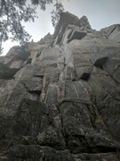 Looking up at the 1st pitch of the Standard Route from the base.