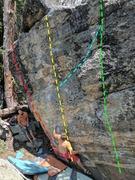 Rock Climbing Photo: K. Redberg on the Tunguska Event  Red:  Galactic...