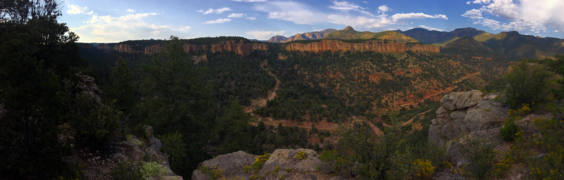 Panoramic shot from our camp chairs at Bank Campground, looking out over The Bank, 2150 Wall, The Vault and Cactus Cliff.