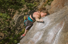 Rock Climbing Photo: Jess getting a quick shake before tackling the slo...