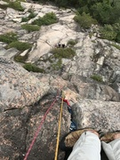 Rock Climbing Photo: Looking down after the crux on Gargoyle. The  bela...