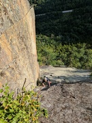 Rock Climbing Photo: Craig coming up to the belay of P3