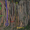 The route marked, appropriated from JJ's pic under the West End Wall.