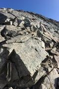 Rock Climbing Photo: Upper pitch 1 anchor (a blue webbing anchor is slu...