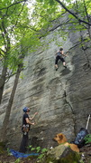 Rock Climbing Photo: On Manly-us 11a a day after a rain. the face is st...