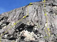 Rock Climbing Photo: High Dive routes (L-R): Rise, Double D, Sprinklers...