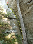 "A general picture of the route with topo line. The rock marked with an ""X"" sounded hollow."