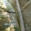 """A general picture of the route with topo line. The rock marked with an """"X"""" sounded hollow."""