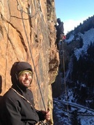 """My buddy Aaron Porter leading Rosy - his first pitch in Eldo, temps were in the upper 20s. """"That was scarier than El Cap."""""""