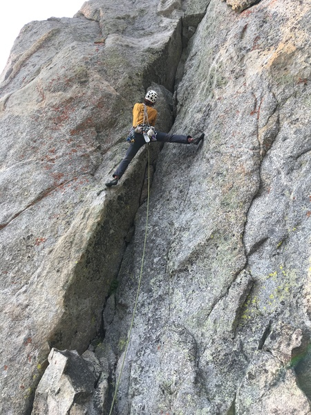Pitch 2; 5.9 * steep hand crack with cool stemming.