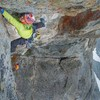 The spectacular 14th pitch. Mike Lilygren belaying and taken by Shep Vail.
