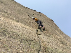 Rock Climbing Photo: A thin move on the 4th pitch, just above the crux ...