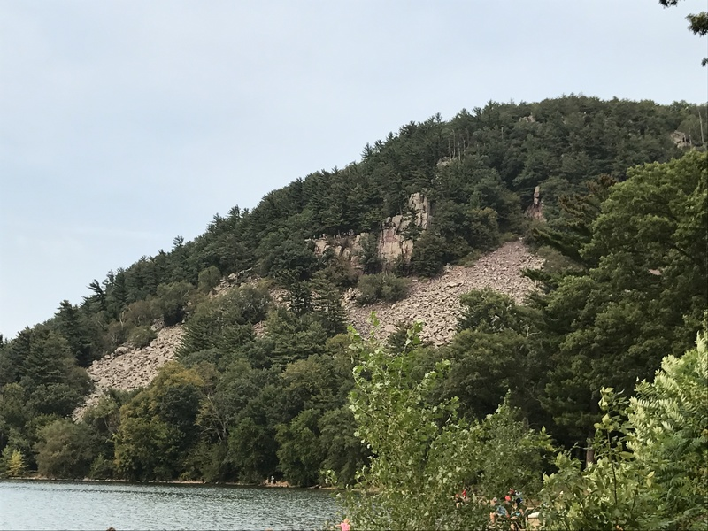 The lone pinnacle in the small clearing to the right of balanced rock wall is this formation.