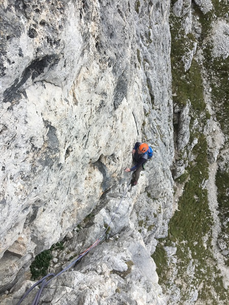 Martin Bennett following the crux pitch.  Traverses just enough to make the wall below overhung.  To escape, one would have to reverse the pitch.