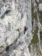 Rock Climbing Photo: Martin Bennett following the crux pitch.  Traverse...