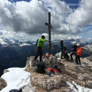 Rock Climbing Photo: Summit anchor is pretty big.  Fresh snow September...