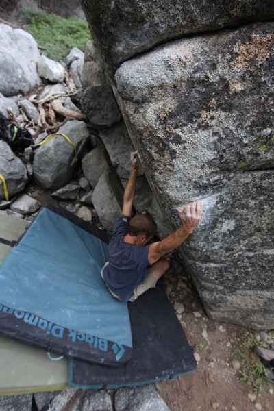 Pulling onto the crimpy starting holds.
