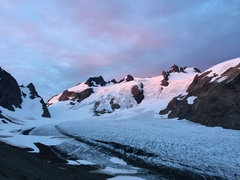 Blue glacier from the lateral moraine at dawn