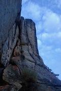 "Rock Climbing Photo: Looking up at the ""expando"" crack."
