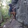 Steve climbing 6 Pack. Notice the undercut at the start...