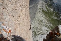 Rock Climbing Photo: Traverse pitch and corner pitch followed as one pi...