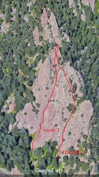 """Two main lines that might be El Camino Royale. Route 1 seems more 5.2+. Route 2 seems more Class 4. Both match """"low point of the rock to the right of a gully system"""". Comments?"""