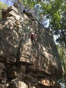 Rock Climbing Photo: Michael cruising through the crimpy section