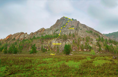 Rock Climbing Photo: Overview of the Nordwestwand with Dirt Gulley draw...